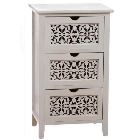 Mueble madera blanco maqueteria 3 cajones Med: 43 x 33 x 65 cm
