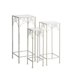 Mesitas auxiliares románticas blancas de hierro para decoración France