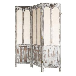 Biombo plegable provenzal blanco de madera para salón France