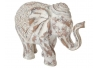 Figura elefante de suerte resina blanco decape 40x17x30 cm .