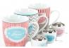 """Tazas de infusiones dulce hogar """" Pack de 3 tazas con filtro y soporte"""""""
