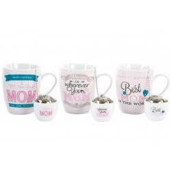 """Tazas de infusiones romantica """" Pack de 3 tazas con filtro y soporte"""""""