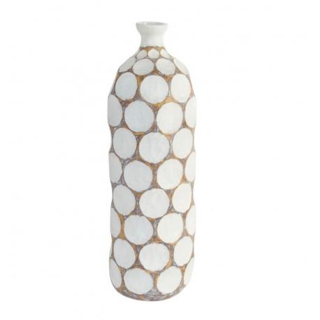 Jarron resina natural blanca para decoracon 17x56 cm .