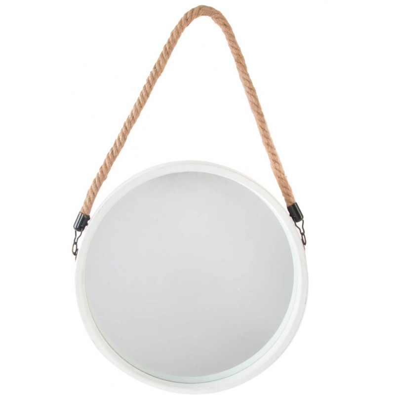 Espejo de pared metal con cuerda blanco sello 33 cm for Espejo redondo blanco