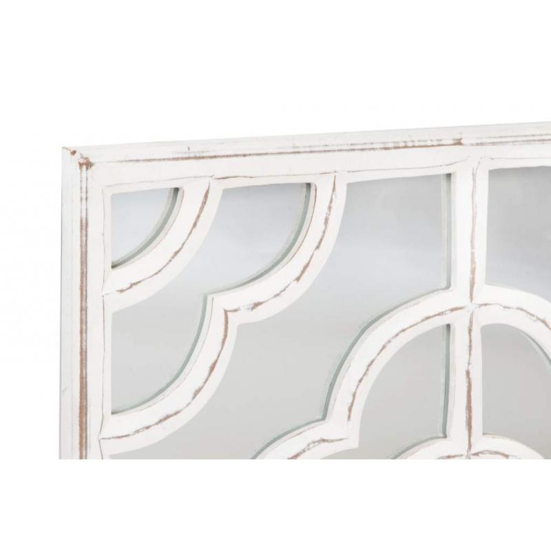 Mural tallado provenzal blanco de madera con espejo 60x60x2 cm - Murales de madera ...