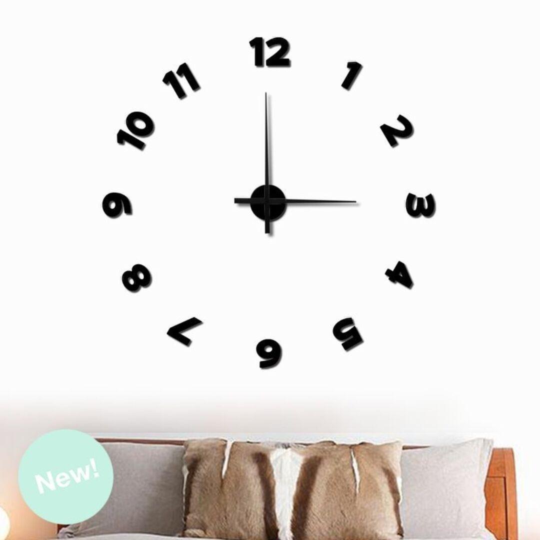 Reloj de pie moderno reloj de pared d adhesivos diy negro - Reloj pared adhesivo ...