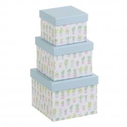 """Juego 3 cajas regalo diseño """"CACTUS"""""""