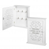 Caja para llaves blanco de madera decorada 25x6x32 cm.