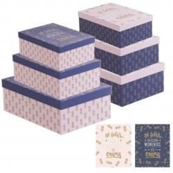 """Juego 3 cajas regalo diseño piñas con frase """"SER FELIZ"""""""