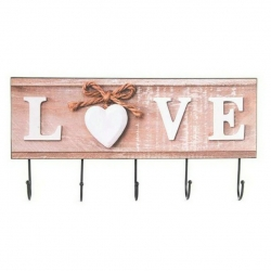 Perchero de pared madera metal love 4 colgador .