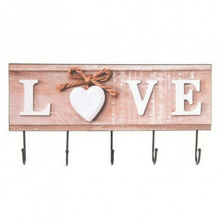 Perchero De Pared Madera Metal Love 4 Colgador Dcasaes