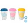 Mug diseño original colores con tapa de silicona (Set de 3 mug)