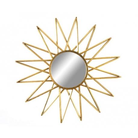 Espejo de pared provenzal dorado de metal para la entrada de 80 cm France