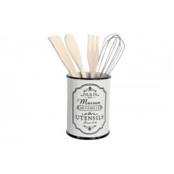 Bote utensilios ceramica blanco/negro diseño paris .