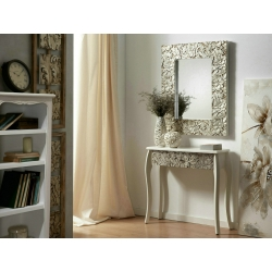 Consola madera tallada plata 80x30x78 cm.