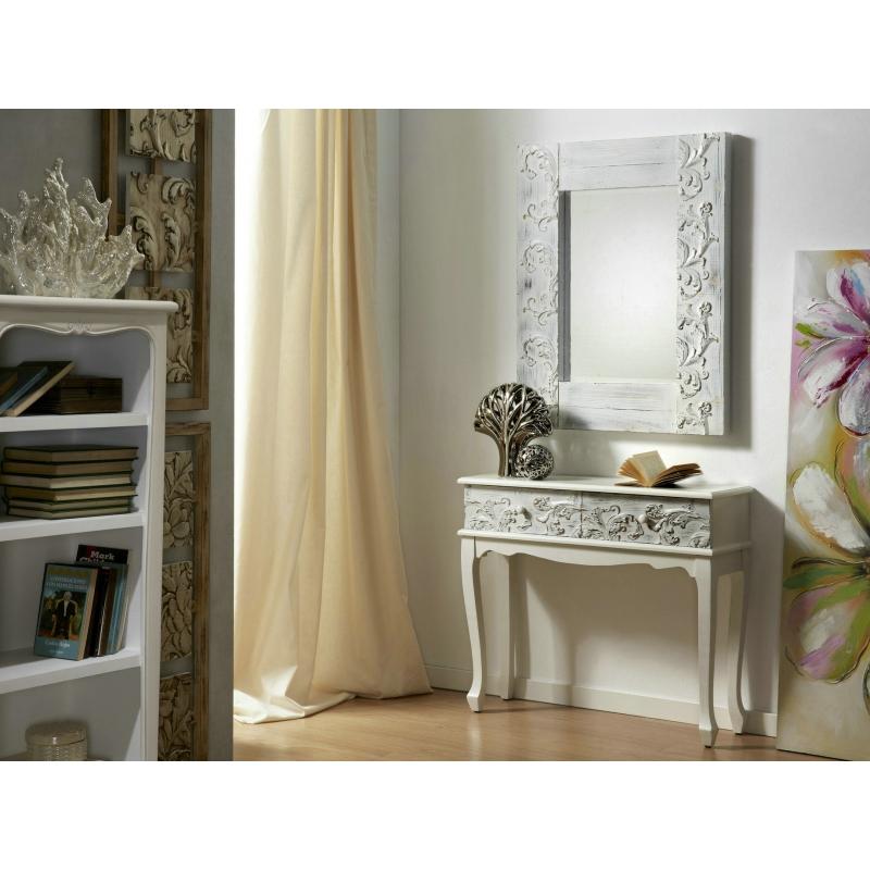 Espejo de pared madera tallada blanca 120x80 cm for Espejo 140 x 80