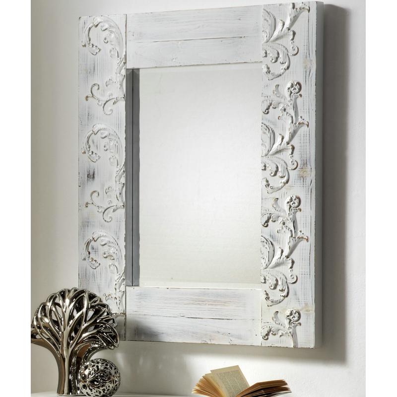 Espejo de pared madera tallada blanca 120x80 cm for Disenos de espejos tallados en madera