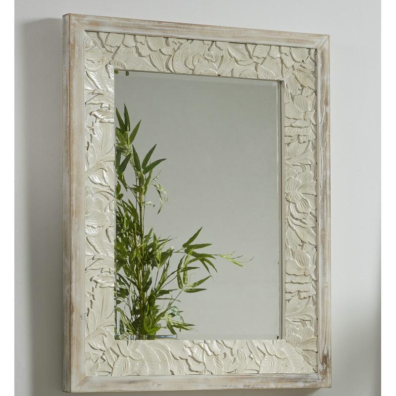 Espejo de pared madera tallada giena 75x95 cm for Espejo pared madera