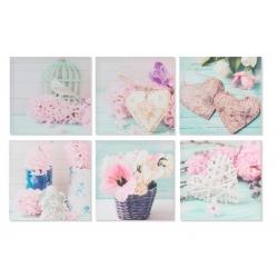 """Pack de 6 lienzo decorativo romantica """"Corazon flores"""" 40x40 6m"""