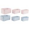 Juego de 3 cestas ordenacion rectangulares color pastel .