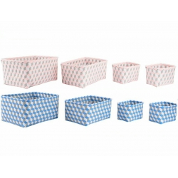 Juego de 4 cestas ordenacion rectangulares color pastel .