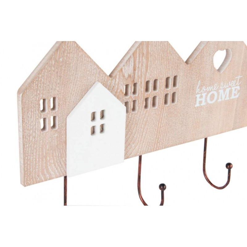 Perchero de pared madera de 4 ganchos home sweet home for Ganchos adhesivos para pared