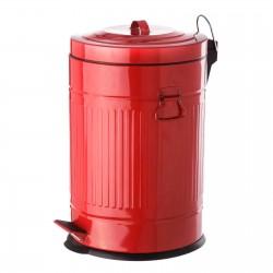 Papelera retro rojo acero galvanizado 31 x 35 x 49 cm capacidad: 20 litros.