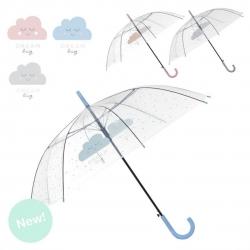 "Paraguas largo transparente "" Nubes "" apertura automatico."