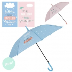 "Paraguas largo color frase divertido "" LLUVIA"" apertura automatico."