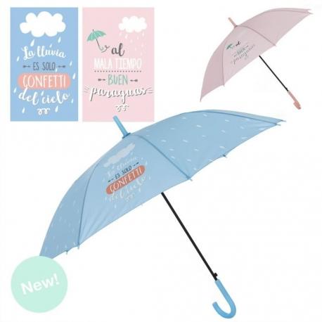 """Paraguas largo transparente frase divertido """" LLUVIA"""" apertura automatico."""