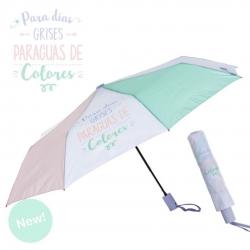 """Paraguas plegable original colores pastel """" PARA DIAS GRISES PARAGUAS COLORES """""""