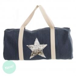Bolsa de viaje indigo con estrella plata .