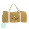 Bolsa de viaje mostaza con estrella oro.