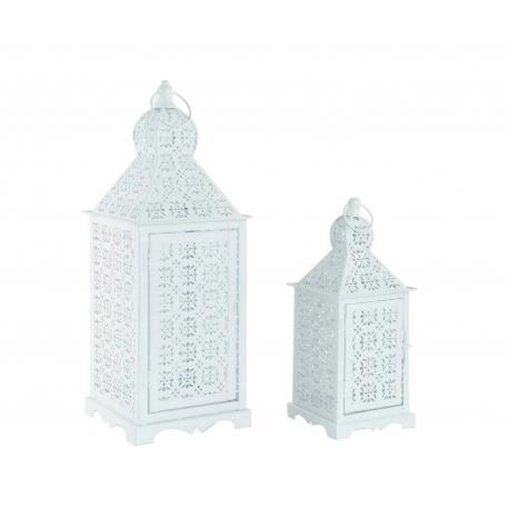 Faroles portavelas blancos de metal para terraza- set 2