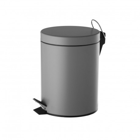 Papelera gris metal 20 x 17 x 26 cm capacidad: 3 litros.