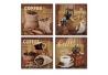 """Conjunto de 4 lienzo """"CAFE"""" 4 modelo para cocina 28x28 cm ."""