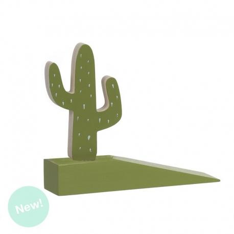 Sujetapuertas original diseño cactus de madera .