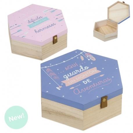 """Juego de 2 cajas madera """"CORONA"""" ."""