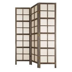 Biombo plegable oriental marrón de madera para dormitorio Sol Naciente