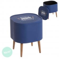 Mesa auxiliar madera con bandeja piñas azul .