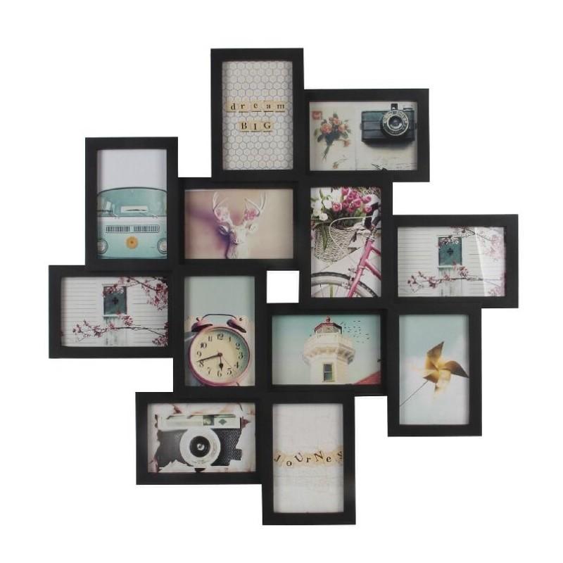 Portafotos plastico multiple negro 12 fotos 61x61 cm - Marcos de fotos multiples ...