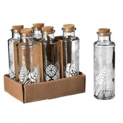 Botella cristal 4 x 4 x 15,50 cm con tapón de corcho. ( Pack 6 botellas )