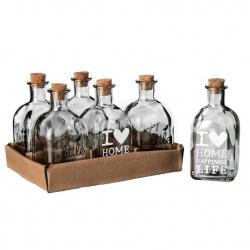 Botella cristal 6,20 x 6,20 x 14,50 cm con tapón de corcho. ( Pack 6 botellas )
