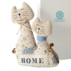 Tope de puerta de gatos infantil azul de tela / arena para dormitorio Child