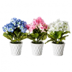 Pack 3 hortensia artificial maceta de porcelana .