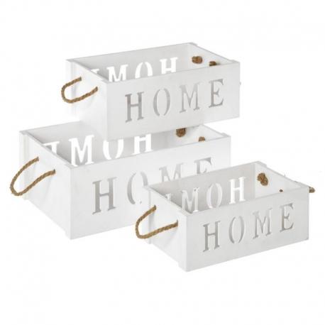 Set 3 Cajas multiusos blanco contrachapado de madera para salón France
