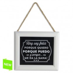 Placa mensaje decorativa happy M 18X16X1,2 CM