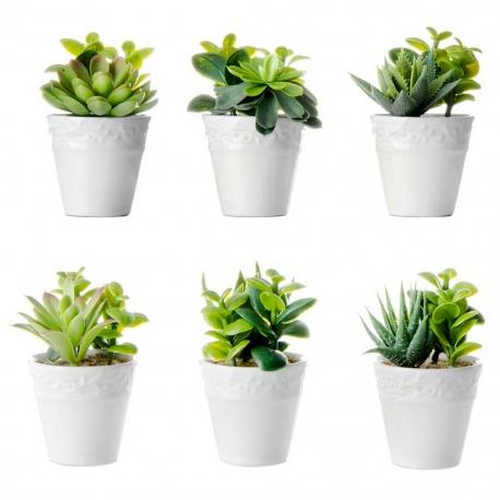 Pack 6 cactus artificial pl stico 11 cm maceta de - Macetas de porcelana ...