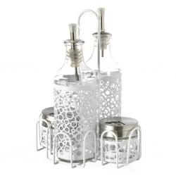 Aceitera vinagrera moderna blanca de cristal para cocina Fantasy