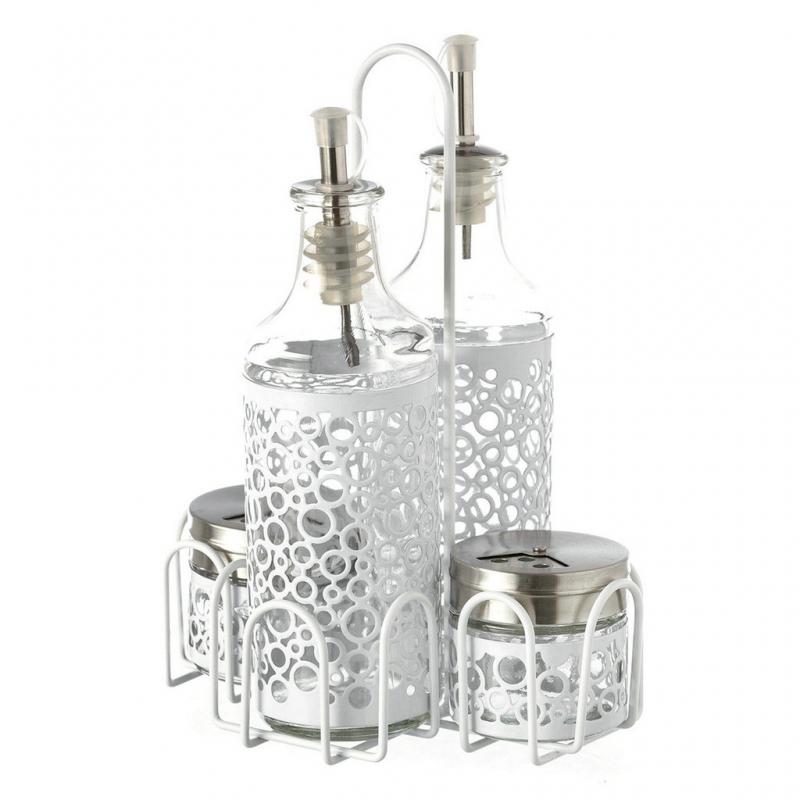 Aceitera vinagrera moderna blanca de cristal para cocina fantasy - Aceiteras de cristal ...